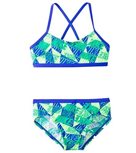 - Nike 2-Pc. Graphic Crossback Bikini Swimsuit, Big Girls (7-16)