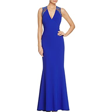JS Collection Womens V Neck Lace-Trim Evening Dress Blue 12 at ...
