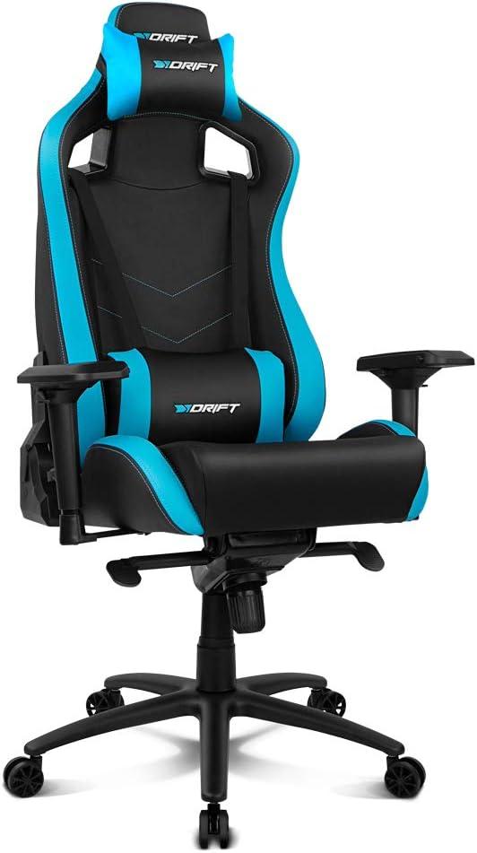 Drift DR500BL - Silla Gaming Profesional, polipiel, reposabrazos ajustable 4D, piston clase 4, sistema balanceo, altura regulable, respaldo reclinable, cojines lumbar y cervical, color negro/azul