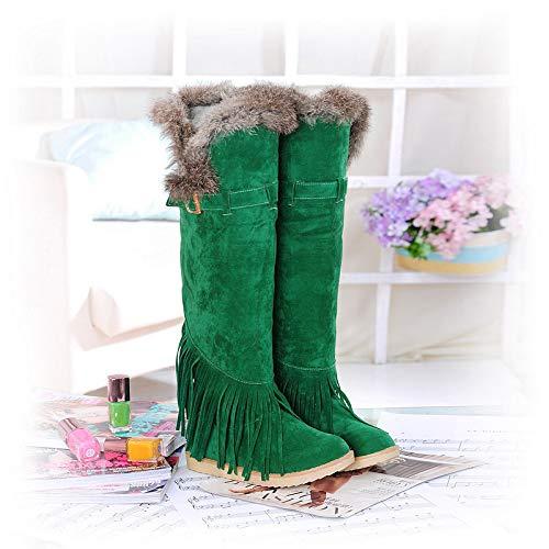 Nappa Nappa Alti Stivali da Plus Plus 34 XQY Stivali Donna Stivali Donna Stivali Cotone Dimensioni verde Moda di Flat 43 Stivali Grandi in Velluto di qwCP7C