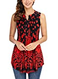 Dokotoo Womens Tanks Tops Blouse 2018 Plus Size Casual Sleeveless Button up Floral Print Tanks Tops Tunics Blouses for Women Under 20 XX-Large
