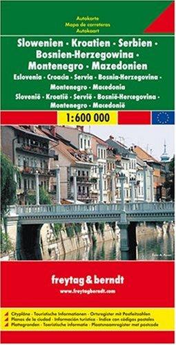 Slovenia, Croatia, Serbia-Montenegro, Bosnia-Hercegovina, Macedonia Road Map (Country Road & Touring)