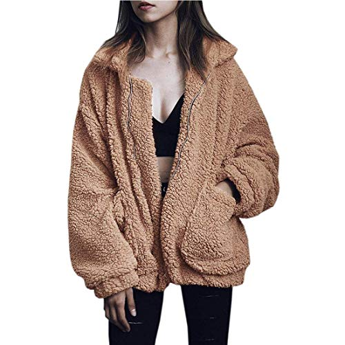 NSBS Women Coat Casual Lapel Fleece Fuzzy Faux Shearling Zipper Outwear Jackets (Khaki,M)