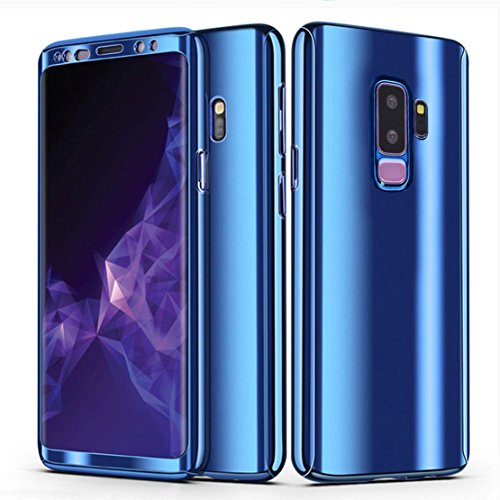 Galaxy S9 Plus Case, Ultra Slim Electroplate 360 Degree Full Body Protection Mirror Case With Tempered Glass Screen Hard PC Protector For Samsung Galaxy S9 Plus (Blue)