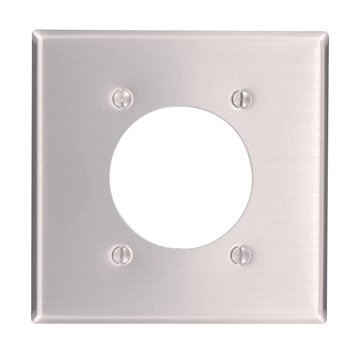 Leviton 83026 2-Gang Flush Mount 2.15-Inch Diameter, Device Receptacle Wallplate, Standard Size, Device Mount, Aluminum