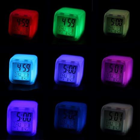 Snner niños Reloj Despertador Despertador de luz LED Reloj Digital Despertador 7 Colores Que cambian 1