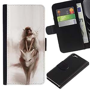 Planetar® Modelo colorido cuero carpeta tirón caso cubierta piel Holster Funda protección Para Apple (4.7 inches!!!) iPhone 6 ( Acuarela Fairytale Sueño Mujer)