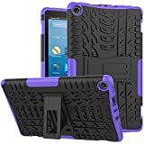 Fire HD 8 Case -[Kickstand Feature],Cherrry Shock-Absorption/High Impact Resistant Heavy Duty Armor Defender Case for Fire HD 8 Tablet (2017/2018 Release,7th/8th Generation) (Purple)