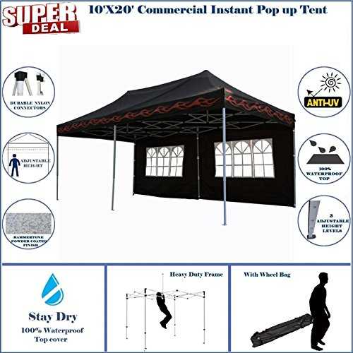 10ft Flame Canopy (10'x20' Pop UP Canopy Wedding Party Tent Instant EZ UP Canopy Black Flame - F Model Commercial Frame By DELTA)