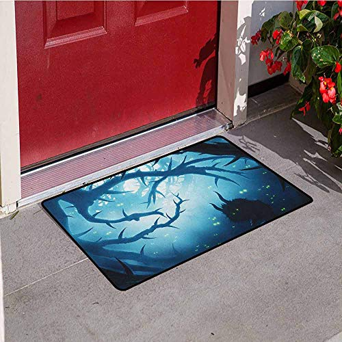 Gloria Johnson Mystic Universal Door mat Animal with Burning Eyes in The Dark Forest at Night Horror Halloween Illustration Door mat Floor Decoration W23.6 x L35.4 Inch Navy White
