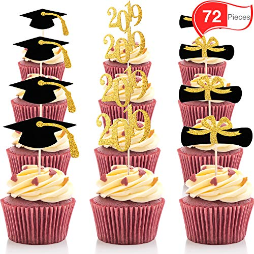 Chengu 72 Pieces Graduation Cupcake Toppers, 2019 Cap Graduation Picks for Mini Cake, Graduate Food and Appetizer Decoration (Gold and Black Style, 72 Pieces) -