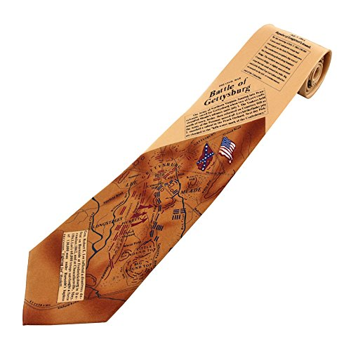 Men's 100% Silk Beige The Civil War Battle of Gettysburg Tie Necktie - History Of The Necktie