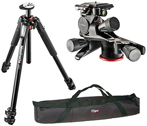 MANFROTTO MT190XPRO3 3 SECTION ALUMINUM TRIPOD KIT W/ MHXPRO-3WG XPRO GEARED QUICK RELEASE HEAD AND A VIDPRO 35 INCH TRIPOD CASE