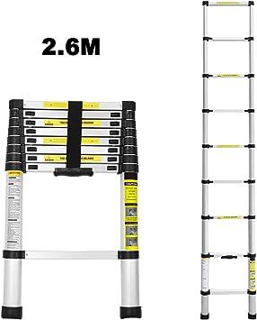 Escalera telescópica 2,6M Escalera plegable de aluminio Escalera multifunción fácil de transportar Capacidad máxima de carga 150 kg: Amazon.es: Jardín