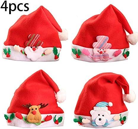 CAR 4 Pack Sombrero De Navidad para Niños Adultos Sombrero De Santa Sombrero De Navidad Tela No Tejida Año Nuevo Sombreros De Feliz Navidad para Celebraciones: Amazon.es: Deportes y aire libre