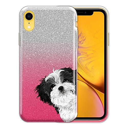 FINCIBO Case Compatible with Apple iPhone XR 6.1 inch, Shiny Sparkling Silver Pink Gradient 2 Tone Glitter TPU Protector Cover Case for iPhone XR - Black White Shih Tzu Hide -