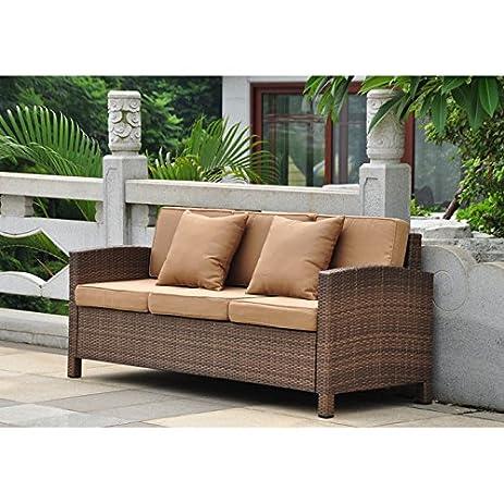 International Caravan Barcelona Sofa With Cushions In Antique Brown