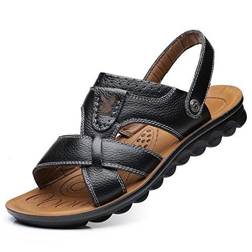Xing Lin Sandalias De Hombre MenS Casual Verano Sandalias De Playa De Hombres De Mediana Edad Transpirable Zapatos Antideslizantes Papá Cool Zapatillas black
