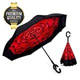 Eutuxia Double Layer Inverted Umbrella with Convenient C-Shaped Handle. [Rose]