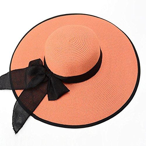 WENJUN Seaside Sunscreen Straw Hat Folding Beach Hat Female Summer Big Hat Sunhat Beach Vacation Travel Sun Hat 360 Degree Sun Protection Hat (Color : Orange black) (Fisher Orange Baseball)