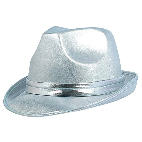 Amscan Velour Fedora Hat Costume Party Headwear, 5'' x 12'', Silver by Amscan