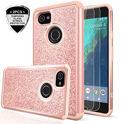 Google Pixel 2 XL Case with Tempered Glass Screen Protector [2 Pack],LeYi Hybrid Heavy Duty Protection Cute Girls Women Shockproof Glitter Bling Phone Case for Google Pixel XL 2 (2017) TP Rose Gold