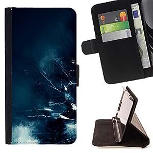 BullDog Case - FOR/HTC One M8 / - / apocalypse future city waves blue art /- Monedero de cuero de la PU Llevar cubierta de la caja con el ID Credit Card Slots Flip funda de cuer