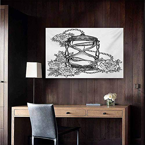 duommhome Tattoo Light Luxury American Oil Painting Pencil Drawing Romantic Theme Hourglass Symbol of Eternal Love with Roses Print Home and Everything 24