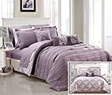 Chic Home 10 Piece Lea Complete Pleated ruffles and Reversible Printed Bed In a Bag Comforter Set of Sheets, Queen, Plum