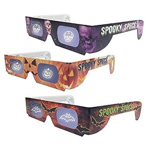 Spooky Specs Assortment - Bat, Pumpkin & Skull Hologram Lenses in Paper Frames - Holospex Holographic 3D Glasses