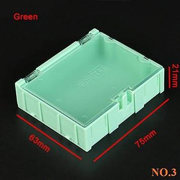 Cajas de almacenamiento de componentes IC caja de herramientas, caja de herramientas, caja de herramientas electrónica, práctica caja de joyería, caja de parches, verde, 10 unidades: Amazon.es: Bricolaje y herramientas