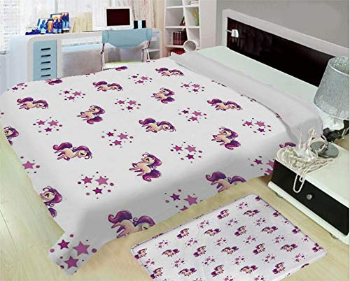 super light and warm flannel warm sofa or bed blanket,Girls,Little Mythical Horse Pony Unicorn with Stars and Dots Fantasy Theme Artwork Print Decorative,White Violet,One side printing,Excess Value