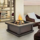 Slate Tile Outdoor Wood Burning Fire Pit | Enjoy a Bonfire in the Comfort of Your Backyard! Comes Complete with Spark Screen, Log Poker Tool and Vinyl Storage Cover