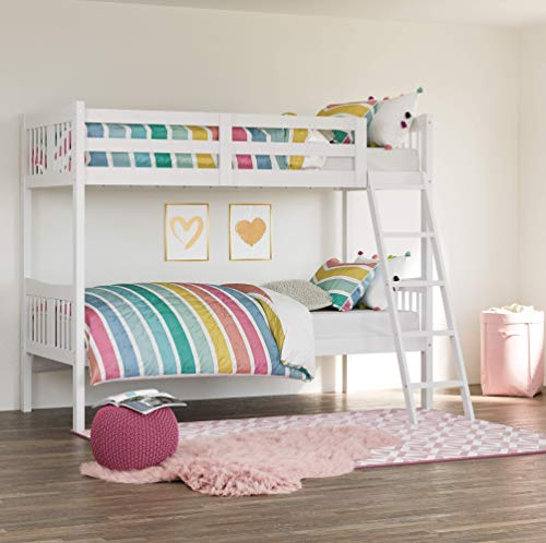 Storkcraft Caribou Solid Hardwood Twin Bunk Bed, White (White Bunk Beds With Stairs And Trundle)