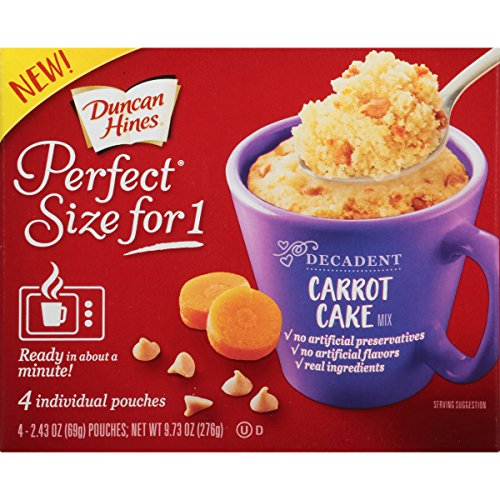 Duncan Hines Perfect Size for 1 Cake Mix, Ready in About a Minute, Carrot Cake, 4 Individual Pouches, 2.43 Ounce (Pack of 4)