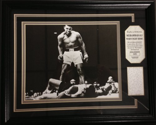 Ali Over Liston Photograph, Matted and Framed with Ali Fight Worn Robe