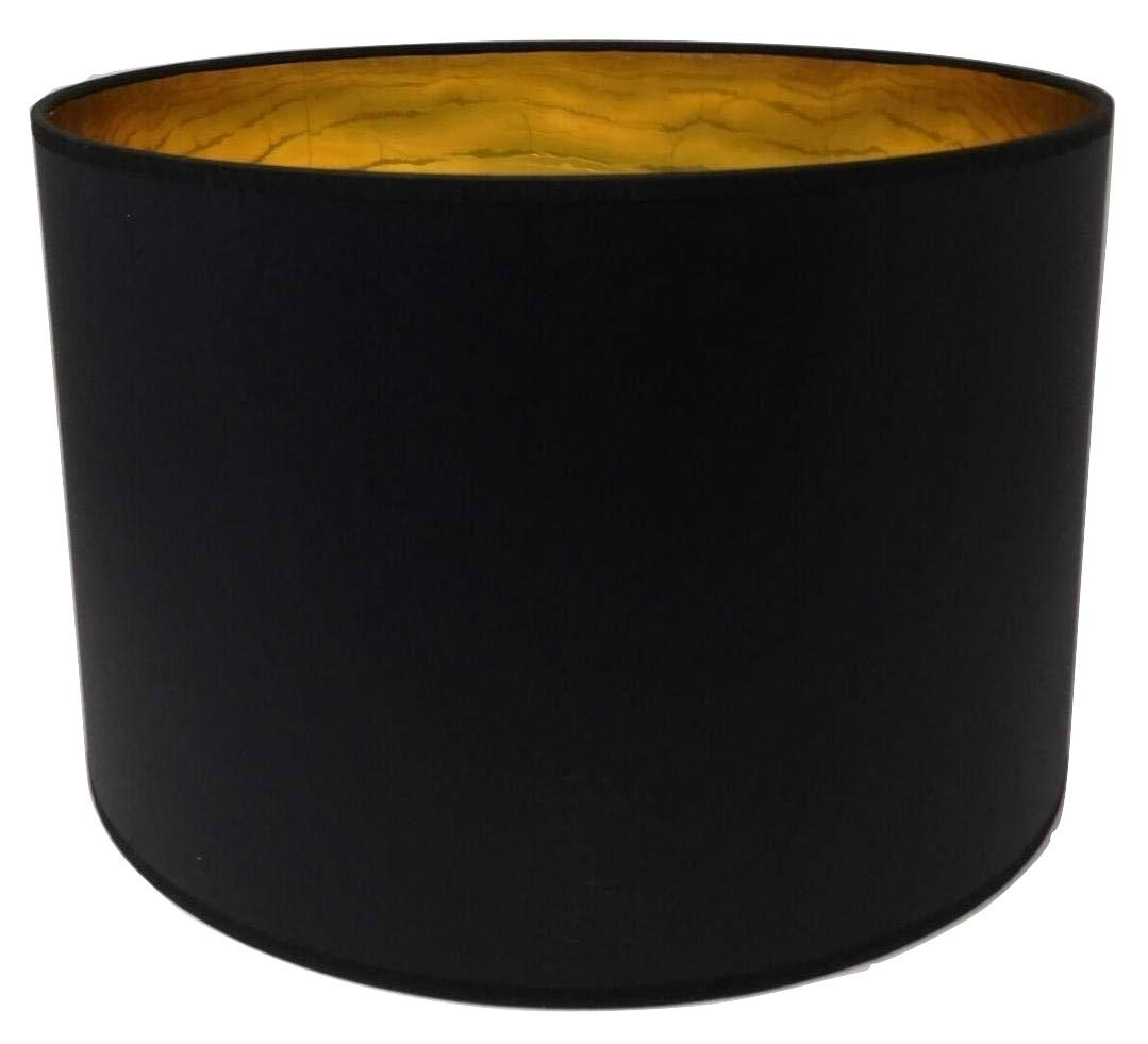 35, 6cm tambour Abat-jour en tissu Noir Doré Doublure de table faite main Pendentif ArG Lighting