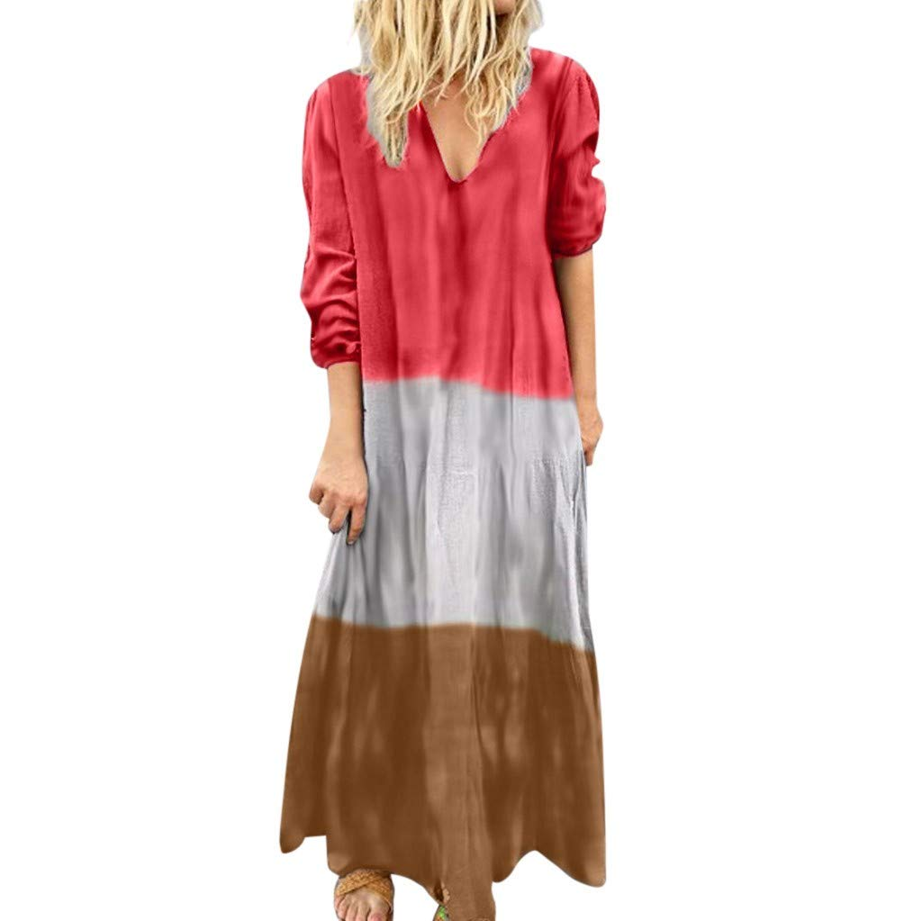 TRENDINAO Women's Gradient Dress Casual Loose Splice Long Sleeve V-Neck Ladies Fashion Maxi Dresses Red by TRENDINAO
