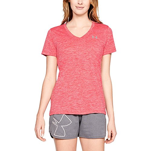 Under Armour Women's Tech Twist V-Neck, Watermelon (677)/Metallic Silver, ()