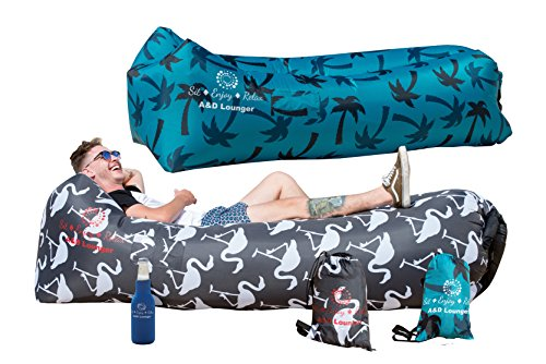 Inflatable Air Lounger with bag & side pockets air sofa float on water & comes with beer cooler to make the perfect solution for both Indoor&Outdoor lounging Enjoyment by A&D Lounger