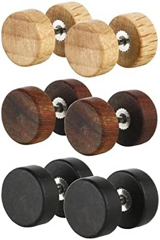 Charisma Men Earrings Studs Wooden Cheater Plugs Stud Earrings for Men Boys Hypoallergenic 3 Pairs