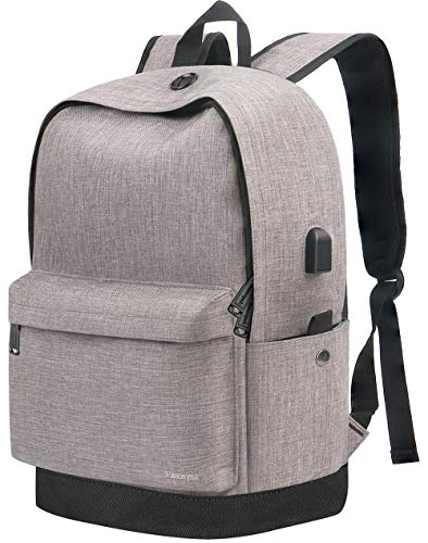 Backpack,Travel Laptop School Backpack with USB Charging Port for Women Men,Water Resistant Canvas College Student bookbag Fits 15.6 Inch Laptop and Notebook,Vintage Casual Daypack for Boys Girl Grey