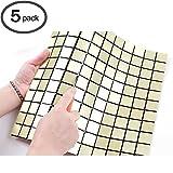 ROSEROSA Peel and Stick Tile Metal Backsplash for Kitchen, Wall Tiles Aluminum Surface : Pack of 5 (Metal-502)