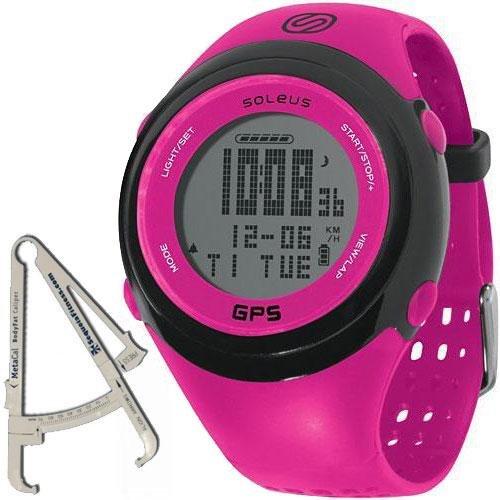 Soleus - GPS FIT Watch with BodyFat Caliper - Fuchsia Black