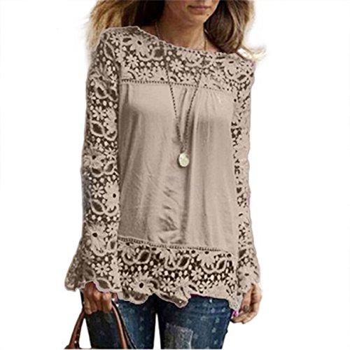 Perman Womens Long Sleeve Hollow Shirt Casual Lace Blouse Cotton Tops Tees (XL, Khaki)