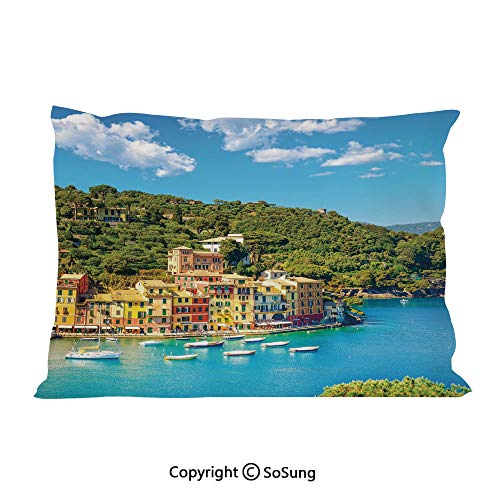 Italy Bed Pillow Case/Shams Set of 2,Portofino Landmark Aerial Panoramic View Village and Yacht Little Bay Harbor Decorative King Size Without Insert (2 Pack Pillowcase 36