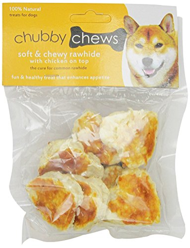 Chubby Chews Soft and Chewy Rawhide Treats with Real Chicken on Top, 2-Inch Heart Shape, 3-Ounce Bag