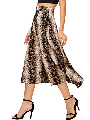 (WDIRARA Women's Vintage Snake Skin Mid Waist Long Length Animal Print Skirt Multicolor L)