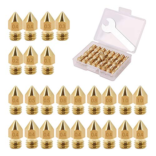 25PCS MK8 Nozzle 0.1mm,0.2mm,0.4mm,0.1mm,0.8mm,1.0mm 3D Printer CR 10 Nozzle with Storage Box,for 3D Printer Makerbot Creality CR-10 (25 PCS) (Best Out Of The Box 3d Printer)