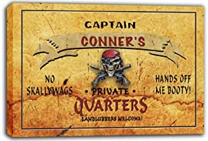 scpw2-1393 CONNER'S Captain Private Quarters Skull Stretched Canvas Print